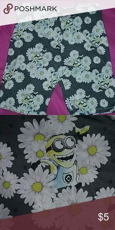 Despicable me Minion shorts Gray shorts with minons and white flowers Bottoms Skorts