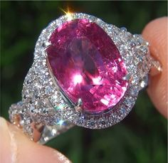 6.27 ct Natural Pink Tourmaline Diamond 14k White Gold Ring | Wonderfinds.com #October #Birthstone