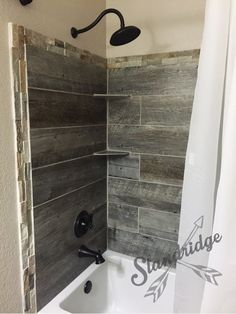 rustic bathroom - barnwood ceramic tile.