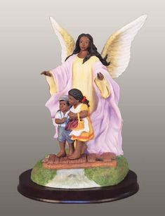 Taking care of our children African American Figurines, African American Art, African Art, Angel Images, Angel Pictures, Entertaining Angels, My Black Is Beautiful, Beautiful Things, Black Santa