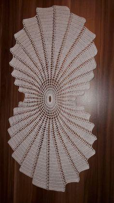 Modern Crochet Fractal doily in hues of blue and white Crochet Table Runner Pattern, Crochet Tablecloth, Crochet Doilies, Crochet Lace, Crochet Stitches, Free Crochet, Crochet Square Patterns, Knitting Patterns, Crochet Carpet