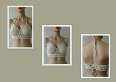This item is unavailable Crochet Halter Tops, Crochet Bikini Top, Crochet Top, Haut Bikini, Bikini Tops, Top Beige, Summer Accessories, Bustiers, Vestidos