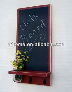 Antique decorative wood wall menu black chalk board for writing with key hooks $6.5~$8