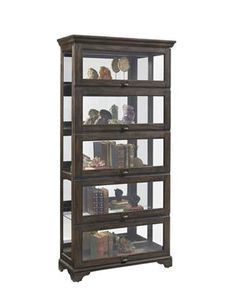 Wood Glass Curio w/Medium Wood Color