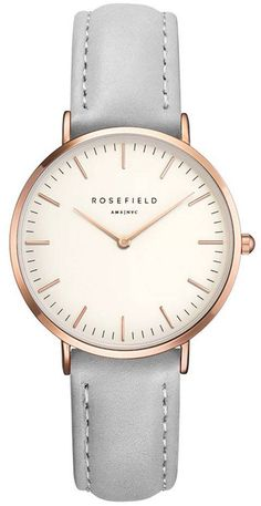 Caught between boho-chic and classic. The Rosefield Bowery grey leather rose gold watch combines a minimalist design with elegantly stitched leather straps. Leather Watch Bands, Grey Leather, Leather Case, Stainless Steel Bracelet, Fashion Watches, Watches For Men, Women's Watches, Watches Online, Jewelry Watches