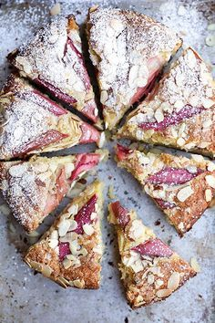 rhubarb and almond cake.Add lots more rhubarb next time ,put quite close together. Sweet Recipes, Cake Recipes, Dessert Recipes, Picnic Recipes, Breakfast Recipes, Think Food, Love Food, Delicious Desserts, Yummy Food
