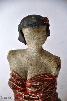 Lady in Red Ceramic Sculpture