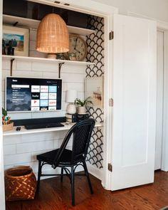 Fireplace Shelves, Shiplap Fireplace, Brick Fireplaces, Room Shelves, Floor Pouf, Room Closet, Closet Into Office, Closet Desk, Guest Room Office