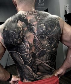 125 Best Back Tattoos For Men: Cool Ideas + Designs Guide) Back Piece Tattoo Men, Cool Back Tattoos, Back Tattoos For Guys, Dope Tattoos, Badass Tattoos, Leg Tattoos, Body Art Tattoos, Sleeve Tattoos, Warrior Tattoo Sleeve