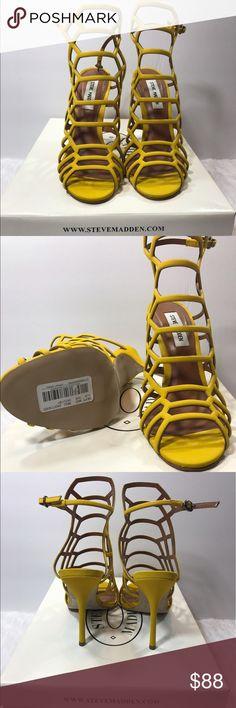 NWB Steve Madden Heels Steve Madden New With Box Slithur Yellow Nubuck Stiletto Heel Sandal Size 8 (Price is firm) Steve Madden Shoes Heels