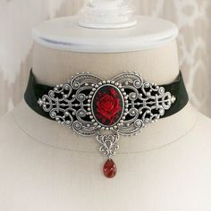 CRIMSON ROSE medieval choker, Victorian velvet choker in crimson and... ($68) ❤ liked on Polyvore