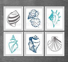 Seashells print set - aqua navy grey nautical nursery/home decor, summer house wall art - set of six 11x14 - custom colors