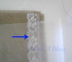 No-Sew Rose & Lace Burlap Placemats      #fabricstenciling #stencil #nosew #burlap #crafts #placemats