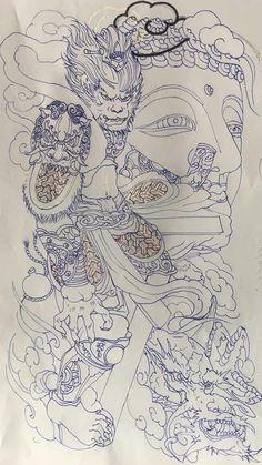 Hannya Samurai, Samurai Tattoo, Back Tattoos For Guys, Full Back Tattoos, C Tattoo, Cool Half Sleeve Tattoos, Monkey Tattoos, Tattoos For Lovers, Asian Tattoos