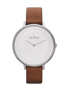 Skagen Ditte Ladies watch,case: stainless steel, silver,strap color: dark brown,strap material: leather,dial color: white,movement: quartz, 2 hand
