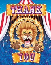 Circus Party Thank You Notes. One package of 8 Circus Party Thank You Notes and envelopes. Find it at http://www.ezpartyzone.com/pd-circus-party-thank-you-notes.cfm