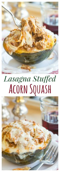 Lasagna Stuffed Acorn Squash recipe. All the cheesy, saucy, meaty goodness of your favorite Italian comfort food recipe in an edible bowl! | cupcakesandkalechips.com | gluten free