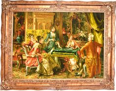 Poker Player Silk Persian Tableau Rug Retail Price: $29,000.00  You Save: 76% ($22,100.00)  Item#: FR1  Category: French style Persian Tableau Rugs  Artist: Arturo Ricci  Size: 135 x 170 (cm)      4' 5 x 5' 6 (ft)  Origin: Iran  Foundation: Silk  Material:   Weave: 100% Hand Woven  Age: Brand New  KPSI: 600  You pay $6,900.00