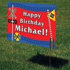 Our exclusive All Aboard Personalized Yard Sign is printed with your custom wording on a colorful railroad design.