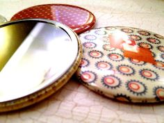 Stocking Stuffer / Pocket Mirrors / Vintage by Bisforbuttons, $14.95