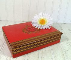 Vintage Red Jewelry Box  Retro Cigar Display Case by DivineOrders, $14.00