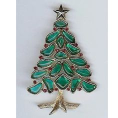 Trifari 'Alfred Philippe' 'Modern Mosaics' Poured Glass Christmas tree Brooch - #Trifari