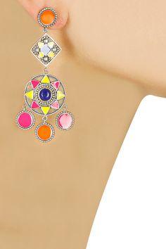 Silver plated enamlled geometric design earrings by Amrapali. Shop now: www.perniaspopupshop.com. #earrings #accesory #amrapali #perniaspopupshop #shopnow #happyshopping.
