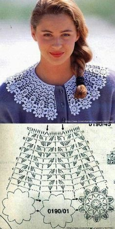Women's Crochet Top Pattern PDF Japanese Pattern with Charts Ladies Jumper Pullover Yoke Sweater Dia Crochet Collar Pattern, Col Crochet, Poncho Au Crochet, Crochet Lace Collar, Crochet Mandala, Crochet Motif, Crochet Flowers, Crochet Stitches, Crochet Patterns