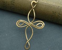 Celtic Cross Brass Pendant Infinity Loops by nicholasandfelice