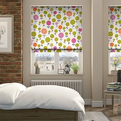 The Blocks Plum roller blind carries a kaleidoscope of colour, with apple, mustard, pink and violet amongst the tones nestled within the simple yet stylish pattern. Curtains With Blinds, House, Home, Roller Blinds, Curtains, House Interior, Roman Blinds, Valance Curtains, Blinds