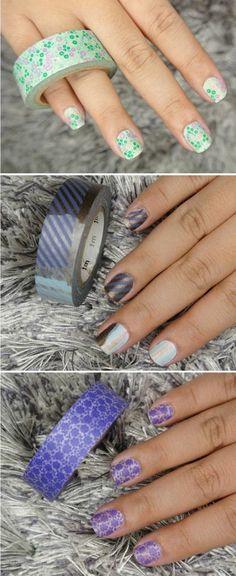 que faire avec du masking tape, du nail art à r;ealiser avec soi meme avec du ruban adhésif décoratif