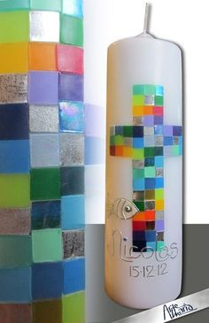 "Artist christening candle ""all your colors"" RainbowFish by arte-maria on DaWanda.c … - Modern Première Communion, First Holy Communion, Baptism Cards, Hanging Succulents, Rainbow Fish, Unity Candle, Diy Candles, Christening, Art For Kids"