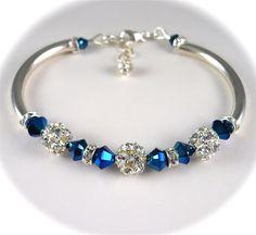 Fireball, Peacock Blue Bracelet, Swarovski Crystal Rhinestone Bracelet, Vintage Style Bangle, Sterling Silver, Bridal Wedding Jewelry. $48.00, via Etsy.