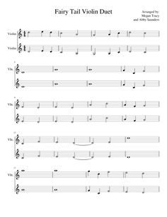 Fairy Tail Violin Duet | MuseScore <--- pin now, read/potentially adapt for one person on the piano later