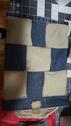 Tic tac toe board / bag for bean x's and o's out of denim and khaki
