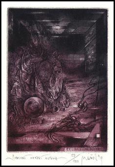 Bugan Zdenek (*1957)     TECHNIQUE - C3/C5    PLATE SIZE - 100 x 70 mm    PAPER SIZE - 190 x 135 mm Paper Size, Plate, Horses, Painting, Art, Art Background, Dishes, Plates, Painting Art