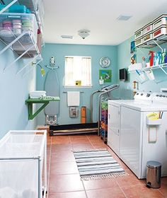 Laundry room  Your folding surface should be high enough that you don't have to stoop and strain your back.