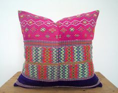 "18""x 18"" Gorgeous Handwoven Ikat Geometric Pattern Ethnic Pillow Cover / Boho Decor Pillow / Tribal Costume Textile Boho Throw Pillow Case"
