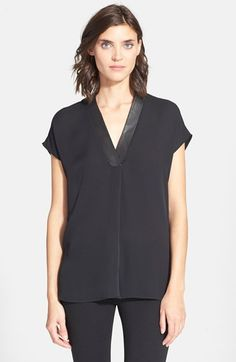 Vince Leather Trim V-Neck Top available at #Nordstrom