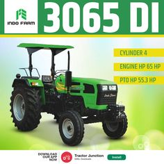 Indo Farm 3065 DI में है 4Cylinder और 65HP का Engine. और साथ में है 1800 kg. की Lifting Capacity.#TractorJunction#loan #price #Specifications #Agriculture #IndoFarm New Holland Tractor, Tractors