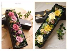 New flowers diy box Ideas Flower Box Gift, Flower Boxes, Deco Floral, Arte Floral, Bouquet Box, Flower Packaging, How To Preserve Flowers, Paper Flowers, Diy Flowers