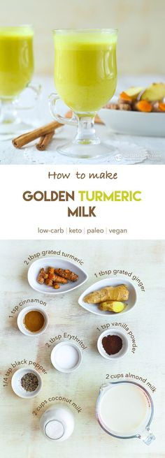 Keto Golden Turmeric Milk (low-carb, paleo, vegan) - a step-by-by-step guide (Best Keto Recipes) Fresh Tumeric Recipes, Tumeric Milk Recipe, Rutabaga Recipes, Watercress Recipes, Turmeric Milk, Saffron Recipes, Qinuoa Recipes, Milk Recipes, Vegans
