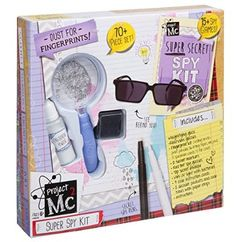 Project Super Spy Kit pieces of spy gear Learn forensics, cryptology and super sneaky spy techniques Everything you need to perform undercover operations Includes magnifying glass, rearview and red tint spy glasses, fingerprint kit, secret mar 9th Birthday Parties, Birthday List, Project Mc2 Toys, Project Mc Square, Spy Gadgets, Super Secret, Science Kits, Christmas Toys, Girls Accessories