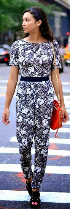 Purple And White Printed Jumpsuit