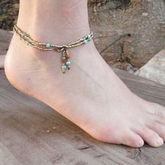 Frosty Mint: Turquoise Summer Delicate Anklet with Brass Beads, Turquoise Stones and Beads Ornaments by Annali's Jewelry