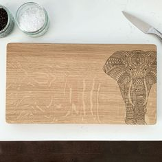 Wooden Elephant Chopping Board by Urban Twist, the perfect gift for Explore more unique gifts in our curated marketplace. Geometric Elephant, Wooden Elephant, Elephant Design, Oak Chopping Board, Wooden Chopping Boards, Cutting Board, Family Tree Wall, Tree Wall Art, Outline Drawings