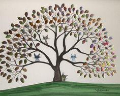 Cats in Trees - Watercolor artwork by Lori Alexander