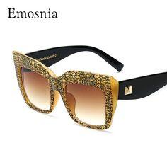 Emosnia Fashion Oversized Goggle Sunglasses Women Men Vintage Big Frame  Square Brand Designer Retro Classic Eyewear fdceebc5bb