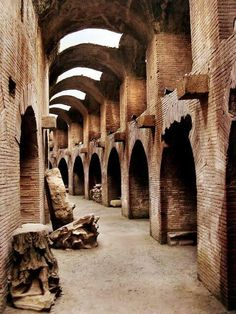 Colloseum.....path of the gladiators...Roma. The Hypogeum served as the stadium's backstage area, sets were prepared here and hoisted up to the arena by a complicated system of pulleys. caged animals were kept here and gladiators would gather here before