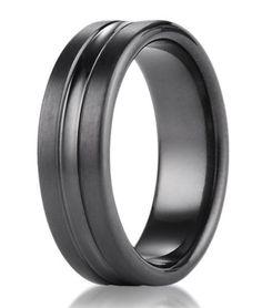 Men's black titanium ring from Benchmark | 7.5mm: Just Men's Rings